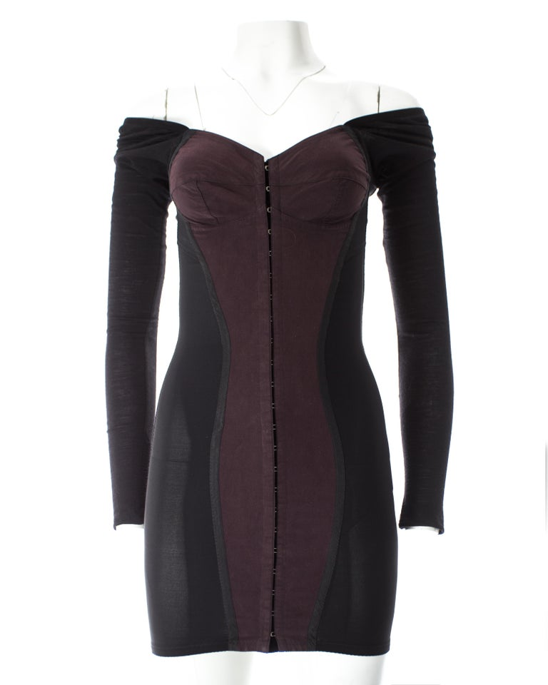 Dolce & Gabbana black jersey and spandex corseted bodycon mini dress, A / W 1989 For Sale 1