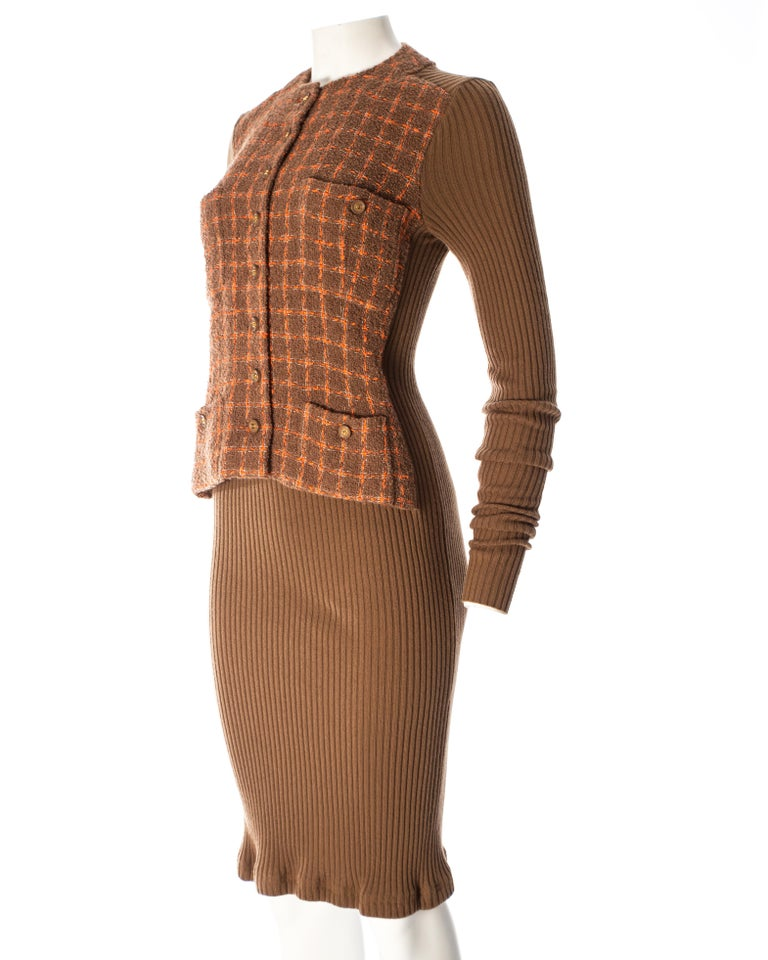 Chanel rib-knit dress with attached boucle checked jacket, A / W 1995  For Sale 4