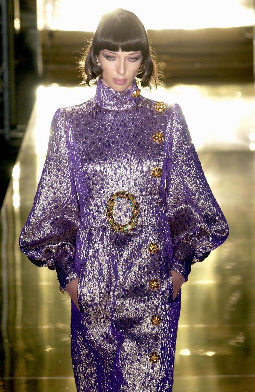 Gray Jean Louis Scherrer haute couture purple lame brocade evening gown, f/w 2005 For Sale