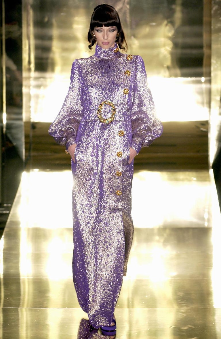 Jean Louis Scherrer haute couture purple lame brocade evening gown, f/w 2005 In Excellent Condition For Sale In London, GB