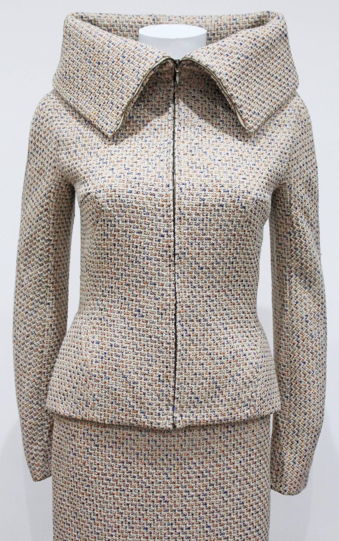 Alexander Mcqueen Metallic Tweed Skirt Suit Fall 2004 For