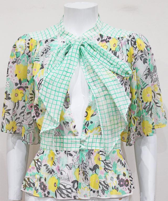 Ossie Clark 'Pretty Woman' peekaboo blouse with print by Celia Birtwell, c. 1972 3