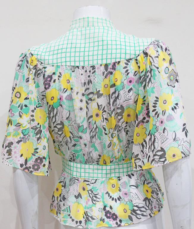 Ossie Clark 'Pretty Woman' peekaboo blouse with print by Celia Birtwell, c. 1972 5