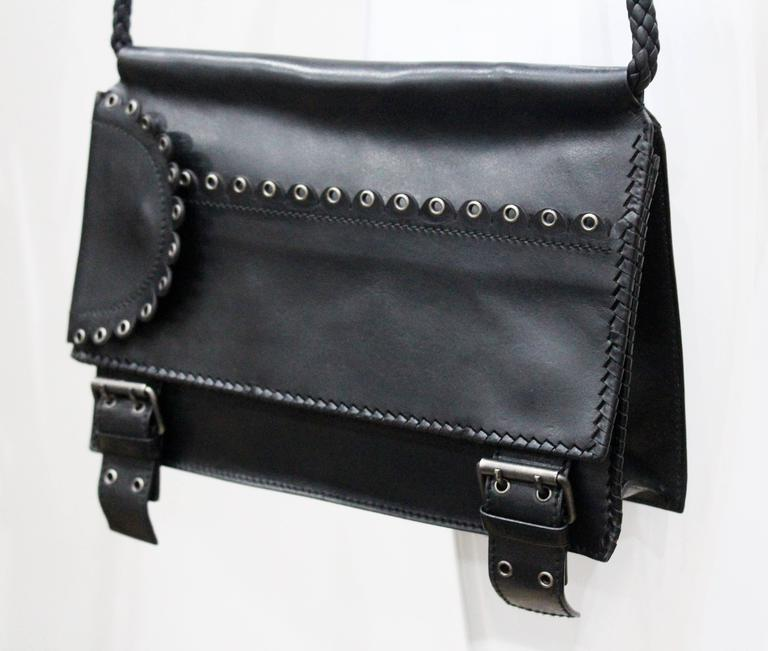 Tom Ford for Yves Saint Laurent runway black calfskin flap bag, Fall 2001 2