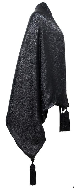 1990s Gianfranco Ferre black velvet and lurex evening large shawl with tassels 2