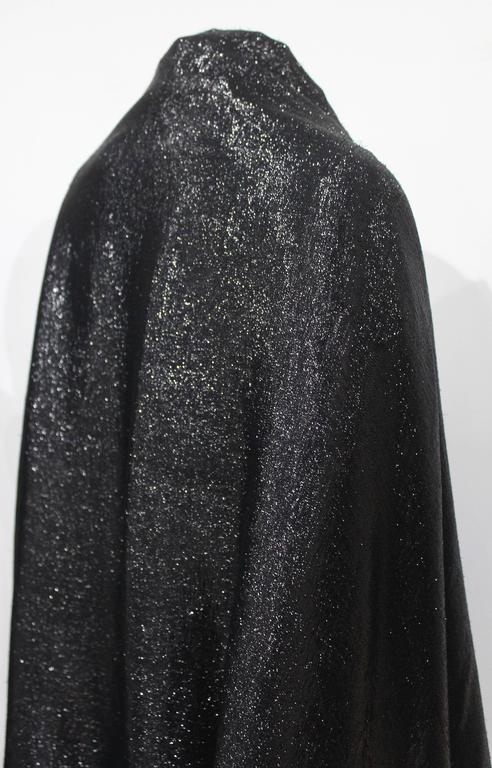 1990s Gianfranco Ferre black velvet and lurex evening large shawl with tassels 4
