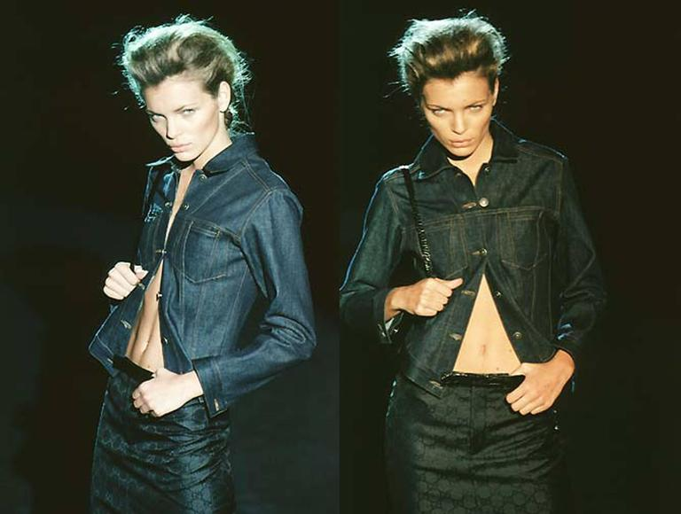 A rare Tom Ford for Gucci fitted denim jacket as seen on runway for the Spring/Summer 1998 collection shown in Milan. The denim jacket is made from 100% cotton and has metal 'Gucci' stamped buttons, 2 front pockets and signature green and red Gucci