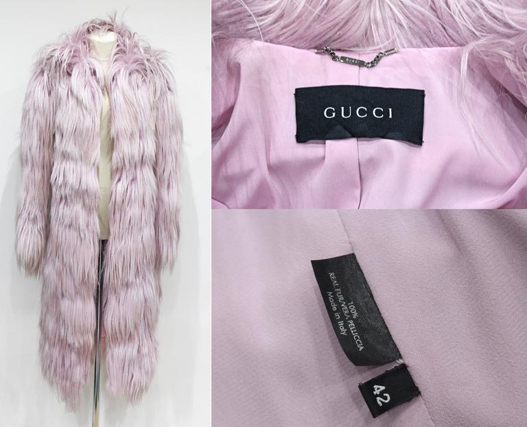 Important and rare Tom Ford for Gucci runway pink fur coat, Fall 2001 4