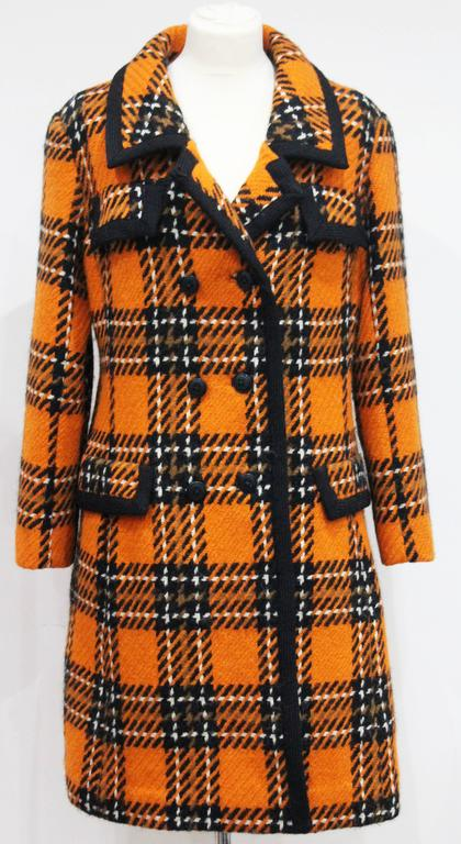 1960s English checked tweed tailored coat by Royal Dressmaker, Hardy Amies  2