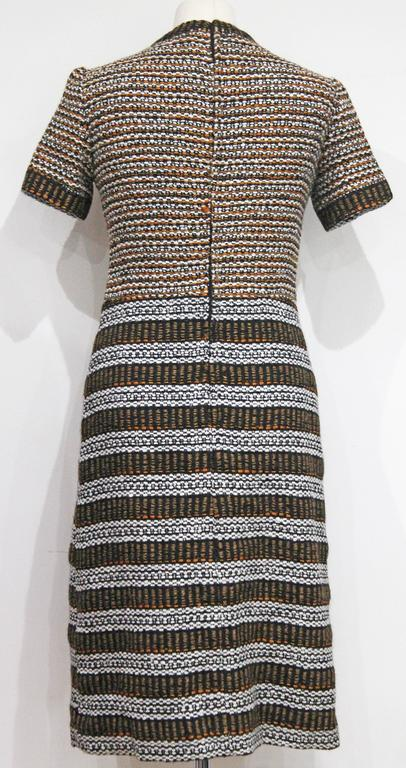 1960s French Haute Couture Jacques Reval Embellished Boucle Dress In Excellent Condition For Sale In London, GB