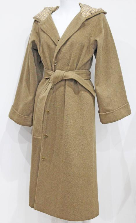 Brown 1970s Yves Saint Laurent camel hooded Loden coat, Fall 1975 For Sale