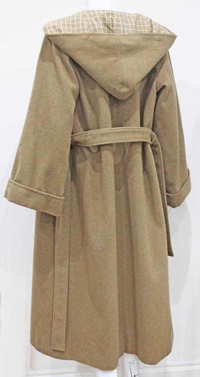 1970s Yves Saint Laurent camel hooded Loden coat, Fall 1975 5