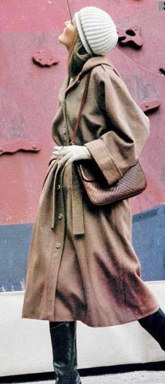 1970s Yves Saint Laurent camel hooded Loden coat, Fall 1975 7