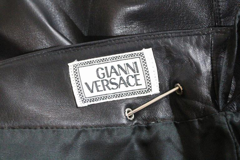 Important Gianni Versace safety pin leather mini skirt, Fall 1994 7