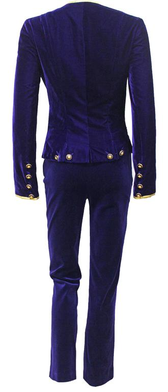 Exceptional Chanel purple velvet pant suit, Fall 1993  For Sale 2