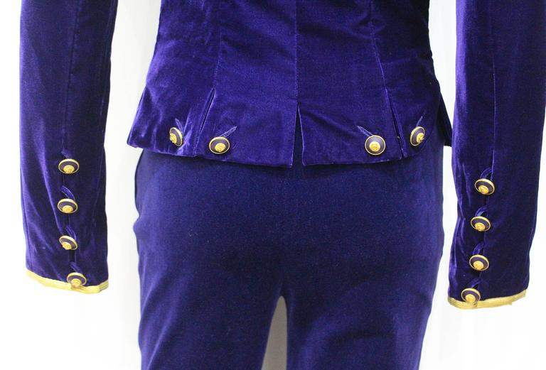 Purple Exceptional Chanel purple velvet pant suit, Fall 1993