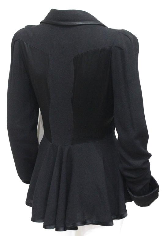 1970s Ossie Clark Black Peplum Satin Evening Blouse In Good Condition For Sale In London, GB