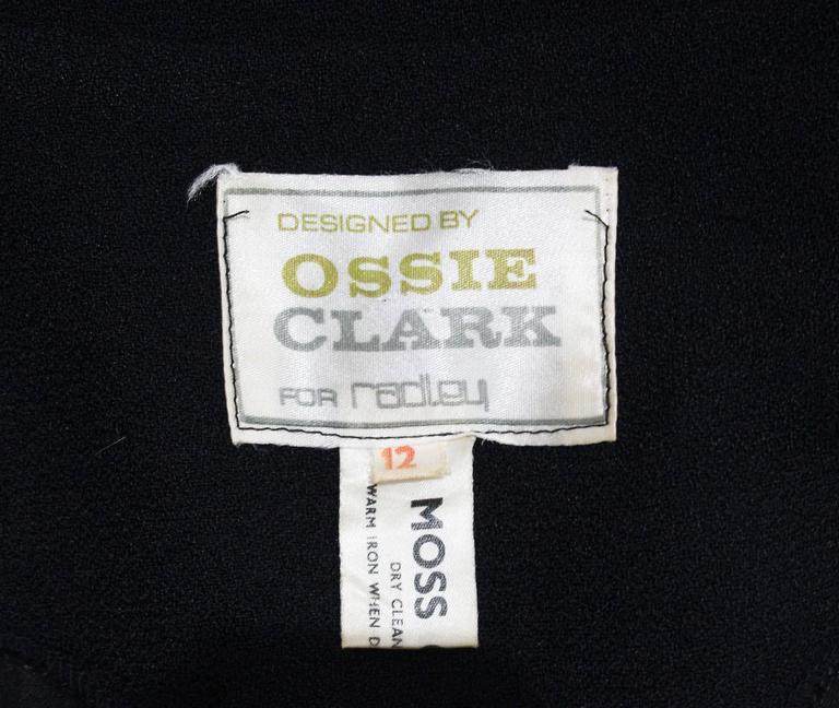1970s Ossie Clark Black Peplum Satin Evening Blouse 4