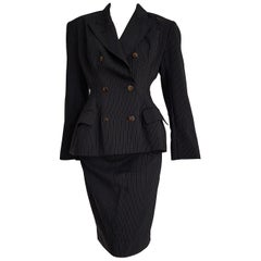 Jean Paul GAULTIER black with gray lines wool skirt suit - Unworn, New