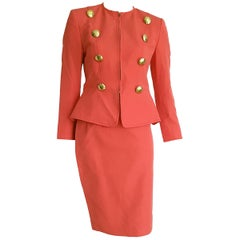 Christian LACROIX jacket and skirt cotton salmon color suit - Unworn, New