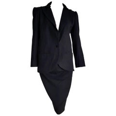 VALENTINO black cashmere embellished collar jacket velvet skirt suit-Unworn New