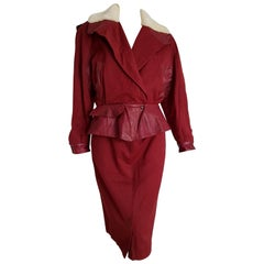 """Claude MONTANA """"New"""" Leather and Cotton Jacket and Skirt Burgundy Suit - Unworn"""