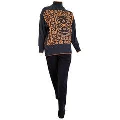 Claude MONTANA sweater Maya design single piece black wool pants - Unworn, New