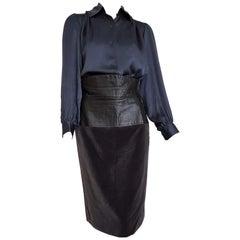 Yves SAINT LAURENT silk shirt and leather velvet skirt, ensemble - Unworn, New