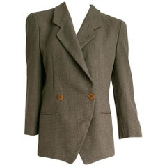 Giorgio ARMANI brown and beige double-breasted wool jacket - Unworn, New