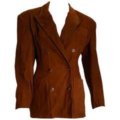 Jean Paul GAULTIER brown suede double-breasted silk lined jacket - Unworn, New