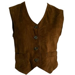 Giorgio ARMANI brown suede 4 front buttons vest gilet - Unworn, New