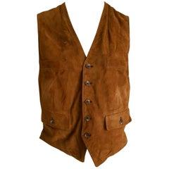 RALPH LAUREN brown suede vest gilet - Unworn, New