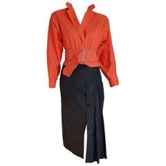 Gianfranco FERRE salmon-red shirt and black skirt, belt, unique design - Unworn