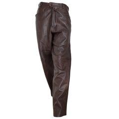 Gianni VERSACE men's unisex brown light burgundy tone leather pants- Unworn, new