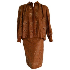 VALENTINO Jacket Skirt Perforated Brown Leather Embroidered Suit  - Unworn, New