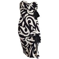 CHANEL Haute Couture Strapless Black White Lilies Design Silk Dress- Unworn, New