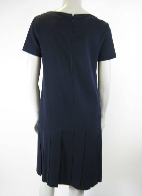 Black Courreges Navy Blue Drop Waist Pleated Dress For Sale