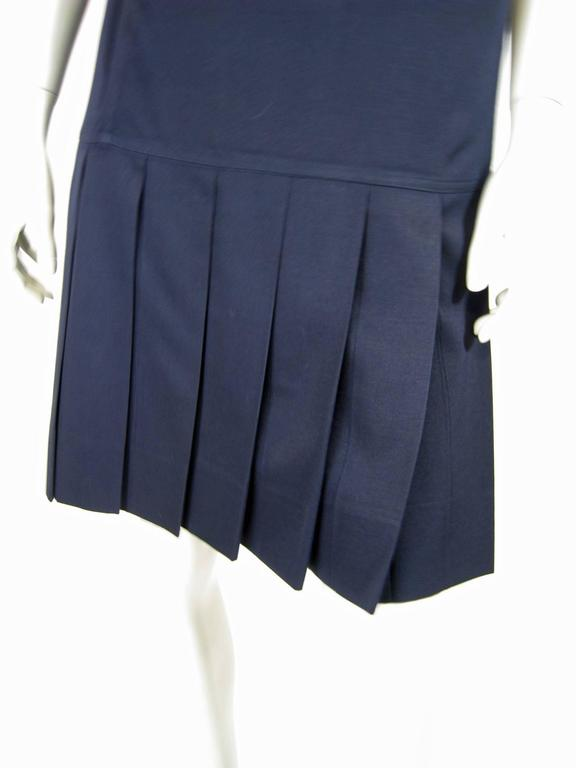 Courreges Navy Blue Drop Waist Pleated Dress In Excellent Condition For Sale In San Francisco, CA