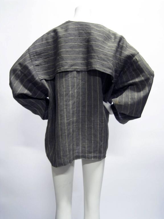 Women's or Men's Issey Miyake Linen Striped Draped Open Jacket For Sale