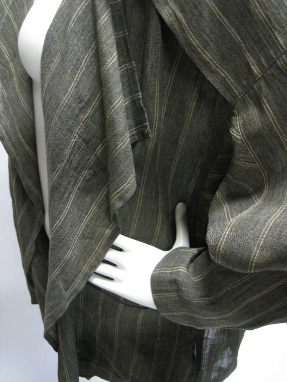 Issey Miyake Linen Striped Draped Open Jacket For Sale 1