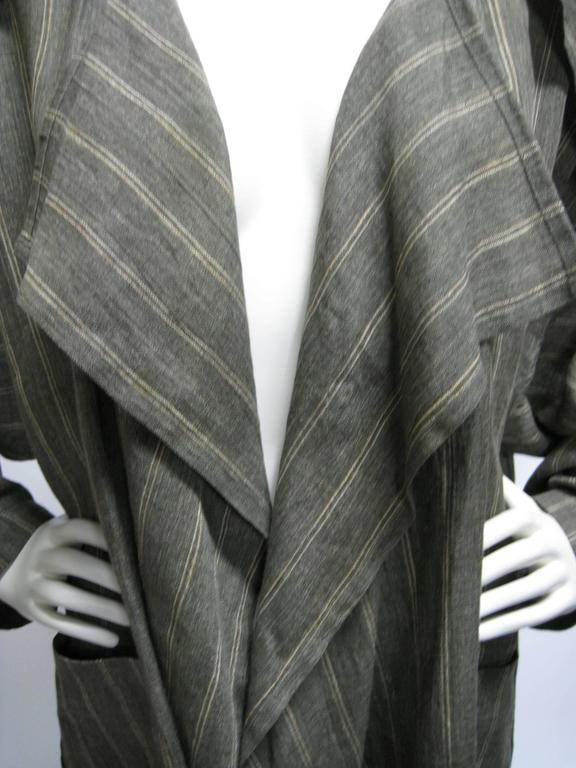 Black Issey Miyake Linen Striped Draped Open Jacket For Sale