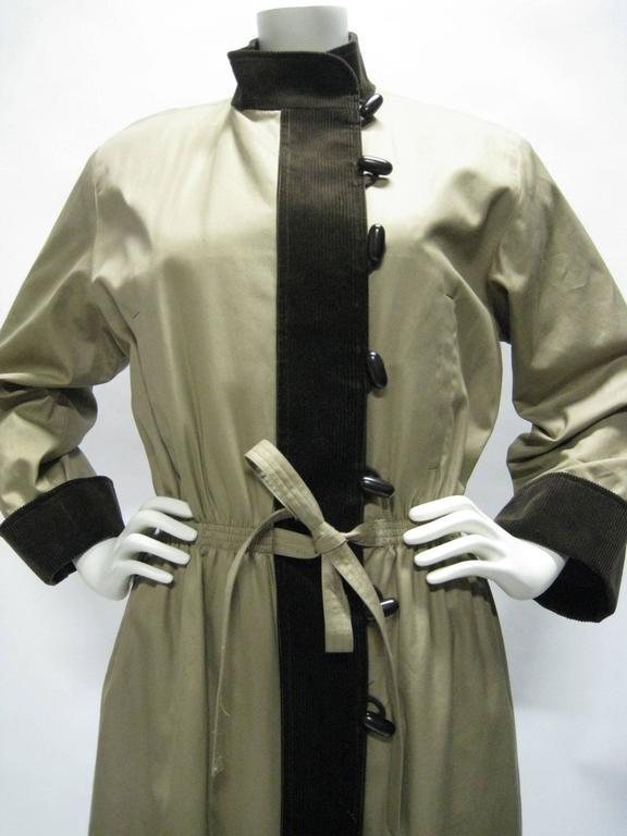 Black Yves Saint Laurent Cotton & Corduroy Trench Coat For Sale