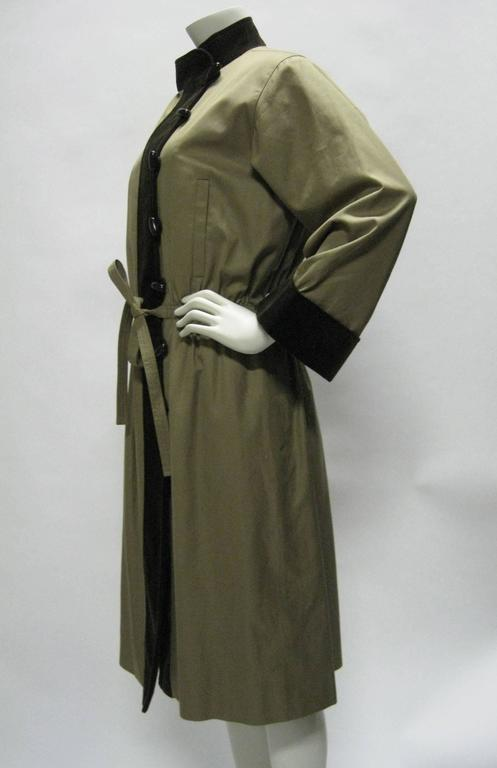 Yves Saint Laurent Cotton & Corduroy Trench Coat In Excellent Condition For Sale In San Francisco, CA