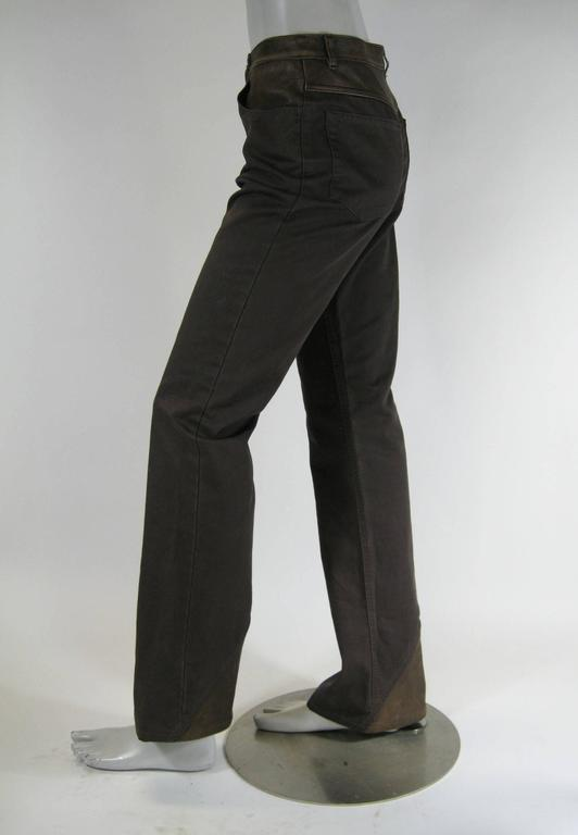 Women's Chanel Brown Denim and Leather Pants For Sale
