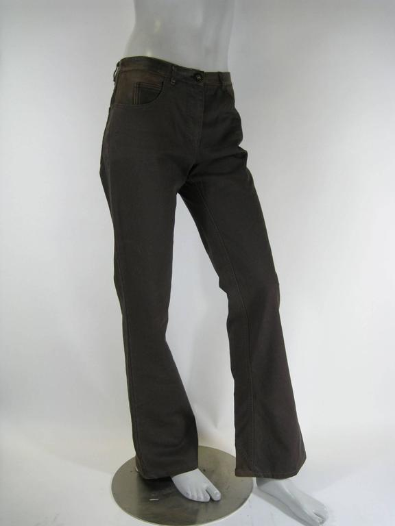 Black Chanel Brown Denim and Leather Pants For Sale