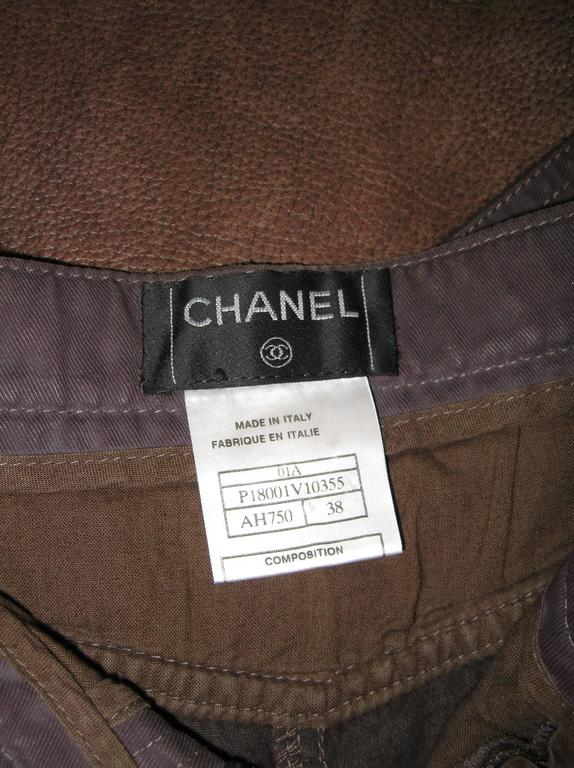 Chanel Brown Denim and Leather Pants For Sale 3