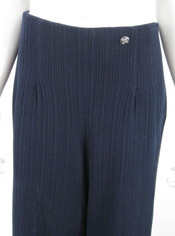 Black Chanel Navy Blue Wide Leg Knit Trousers Pants For Sale
