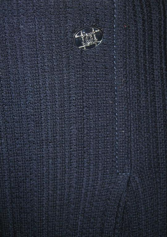 Chanel Navy Blue Wide Leg Knit Trousers Pants In Excellent Condition For Sale In San Francisco, CA