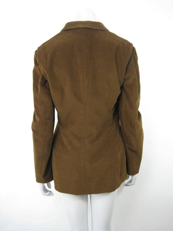 Gaultier Junior Brown Corduroy 2 Piece Mock Jacket Shirt and Vest For Sale 5