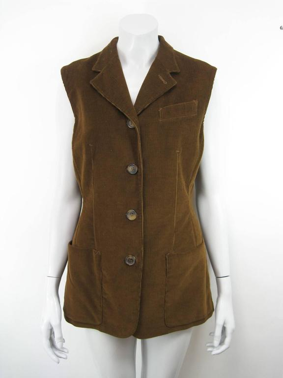 Gaultier Junior Brown Corduroy 2 Piece Mock Jacket Shirt and Vest For Sale 3